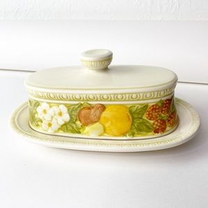 Vintage Butter Dish Lidded Fruit 70's Boho Hippie